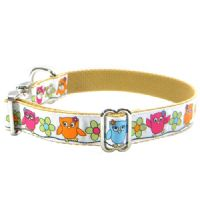 DOG COLLAR - CUTE OWLS ON WHITE